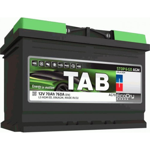 Автомобильный аккумулятор Tab ECODRY Stop&Go AGM 70