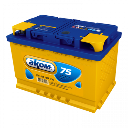 Автомобильный аккумулятор АКОМ 6СТ-75 75 Ач